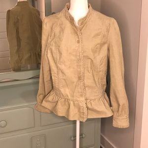 NWT Ashley Judd tan corduroy jacket w/peplum waist